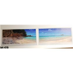 "Qty 4 Sets ""Koki Beach"" by Bill Braden, Triptych, $100 Retail, 25"" x 13"" each panel. There are 3 pan"