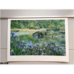 """Lagoon with Iris"" by James Morgan, Diptych, Ltd. Ed. 80 of 500, $250 Retail, 26 x 19-1/4"