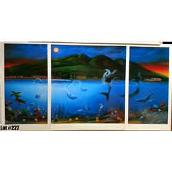 """""""Moonlight Dancers"""" by David Miller, Triptych, Left/Right Panel 14-1/2, Center 25-3/4 x 27"""
