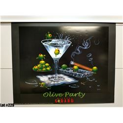 """""""Olive Party"""" by Michael Godard, Paper, 30 x 24"""