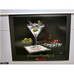 """""""Olive Party 1"""" by Michael Godard, Paper, 30 x 24"""
