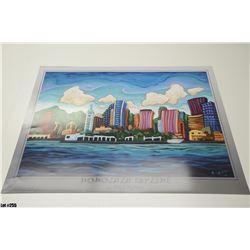 """Honolulu Skyline"" by Fred Peters, Paper, 36 x 24"