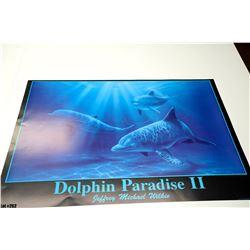 """Dolphin Paradise II"" by Jeffrey Michael Wilkie, Paper, 38 x25-3/4"