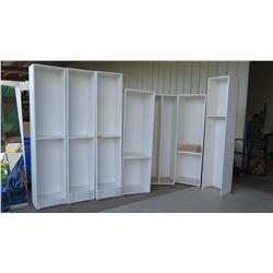 "Tall White Cabinets/Shelving (no doors) 7pcs, shorter ones 78 1/4""H, taller ones 88""H"