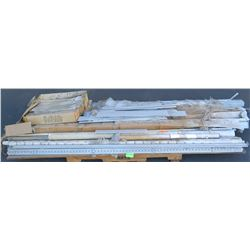 Pallet of Various Aluminum Tracks and Misc. Hardware