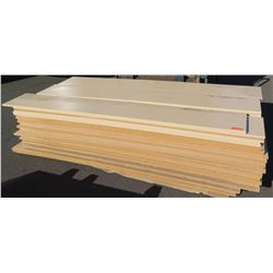 "Qty 81 (approx.) Maple Melamine Particle Sheets for Shelving, Not Pre-Drilled, 1 1/8"" (14X97)"