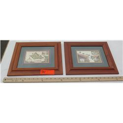 2 Framed Art - Blaise Domino, Maps of Hawaiian Islands & Oahu Island, Original Signature