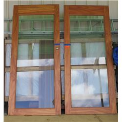 Qty 2 Koa Wood LVL Doors w/ Glass (42x96 each) $4000 Value