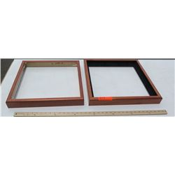 "2 Koa Wood Shadowbox Frames 19""x19"" (for 16x16) & 18""x18"" (for 16x16), No glass or backing"