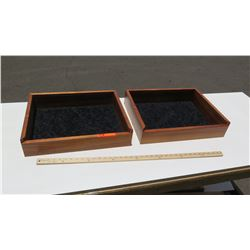 2 Solid Koa Wood Display Boxes 20 x16 , No glass or backing