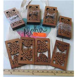 Qty 20 Laser-Cut Koa Votive Pieces - Monstera 3.5x7 and Aloha Tote