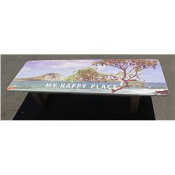 My Happy Place  Hawaii Theme Promotional Bench w/ Laminate Top, Approx 17 x24 x72