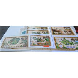 Blaise Domino Signed Unframed Canvas Giclee Maps - Oahu, Kauai, Maui, Sandwich Isles. Original Signa