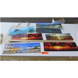 Hawaii Themed Metal Photographic Art Signs 7pcs and Canvas Aloha Tote