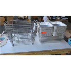 Wire Baskets (10 pcs) and Large Stack of Foil Pans