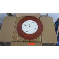 "Qty 5 Round Koa Veneer Wall Clock, Approx 20"" Dia."