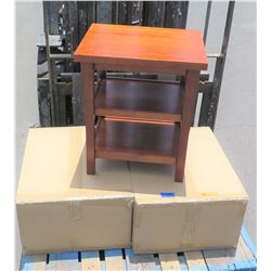Pair Hawaiian Koa Veneer Night Stand w/ 2 Shelves, Made Overseas, 22 x18.5 x25 , Needs Assembly