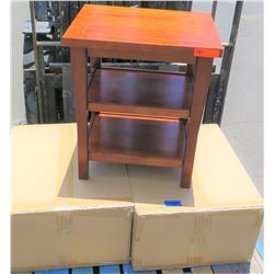 "Pair Hawaiian Koa Veneer Night Stand w/ 2 Shelves, Made Overseas, 22""x18.5""x25"", Needs Assembly"