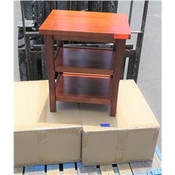 Pair: Hawaiian Koa Veneer Night Stand w/ 2 Shelves, Made Overseas, 22 x18.5 x25 , Needs Assembly