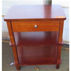 "Hawaiian Koa Veneer Night Stand w/ 2 Shelves, Made Overseas, 23""x15.5""x25"" Rounded Corners, Needs As"