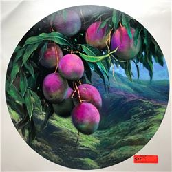 "Mangoes by Rudy Gonzalez, Canvas Giclee 23 3/4"" Dia. Retail $500"