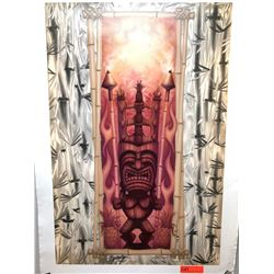 """Bamboo Tiki Torch"" by Dennis Matthewson, Signed, Ltd. Ed. 7 of 250, Canvas Giclee 24"" x 36"""