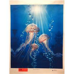 """Jelly Fish Fantasy II"" by Dennis Matthewson, Signed, Ltd. Ed. 7 of 25, Canvas Giclee 19"" x 23"""