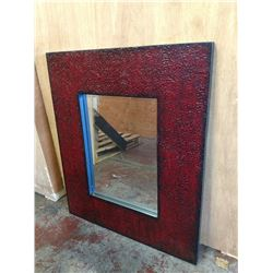 Large Mirror with Red Textured Frame 34.5 X 40.5