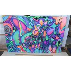 Psychedelic Art by Blaise Domino, Signed, Giclee, Stretched Canvas 36X54