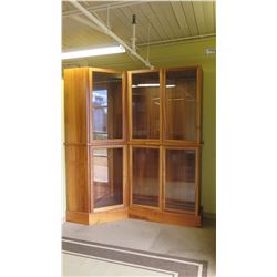 "Angled Tall Glass Cabinets, 103"" H, Two Right Panels 49"" W Combined, Left Panel 28"" W, Approx. 18"" D"