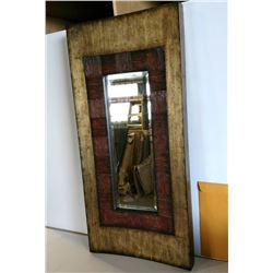 Curved Mirror w/Bronze/Gold Tone Textured Frame 19X40