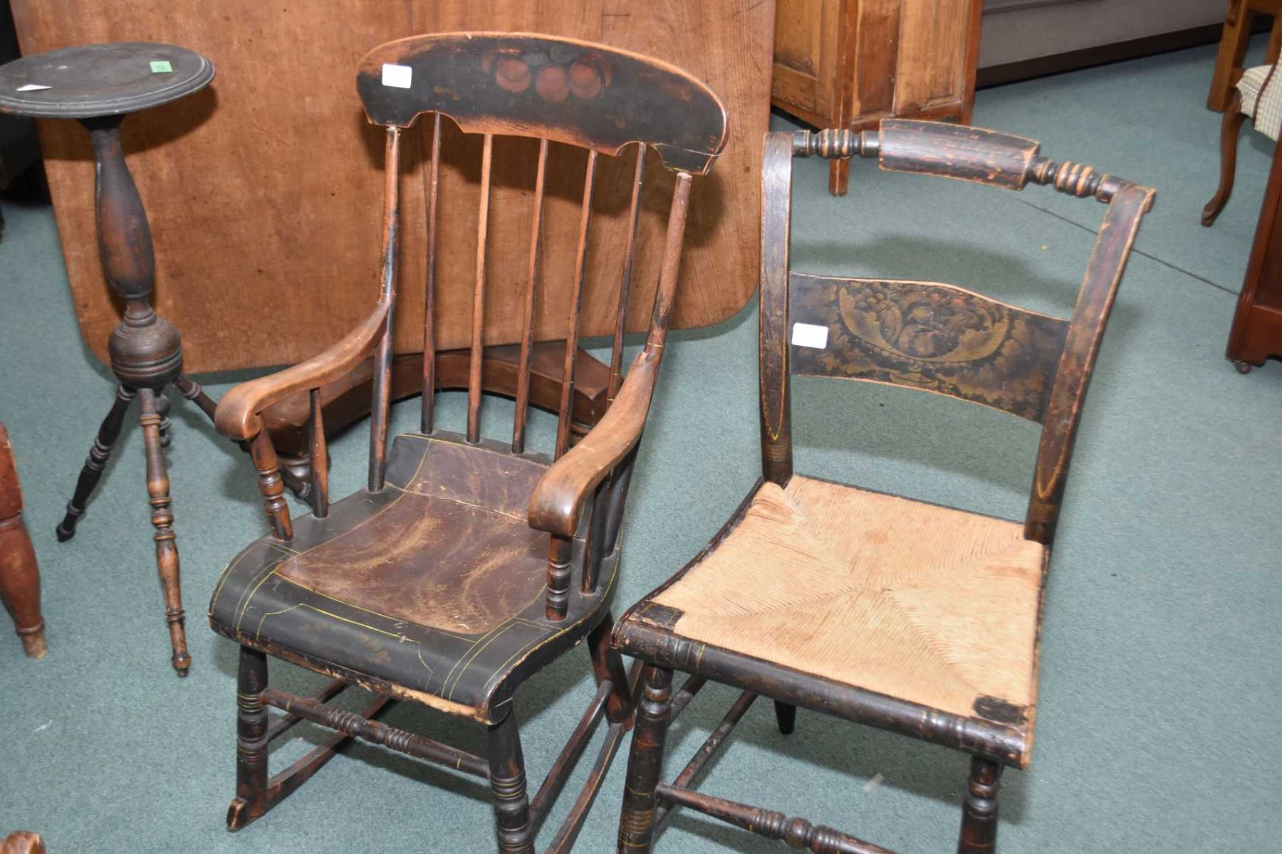 Image 1 : Two Primitive Antique Chairs Including A Spindle Back Rocker And  Side Char With