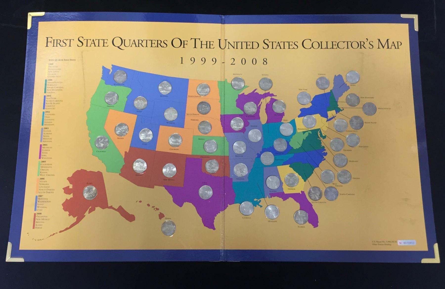 First State Quarters Of the United States Collector's Map on