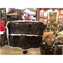 SPECIAL ITEM - Luxurious Handcrafted Wyoming Beaver & Blue Fox Trim Blanket