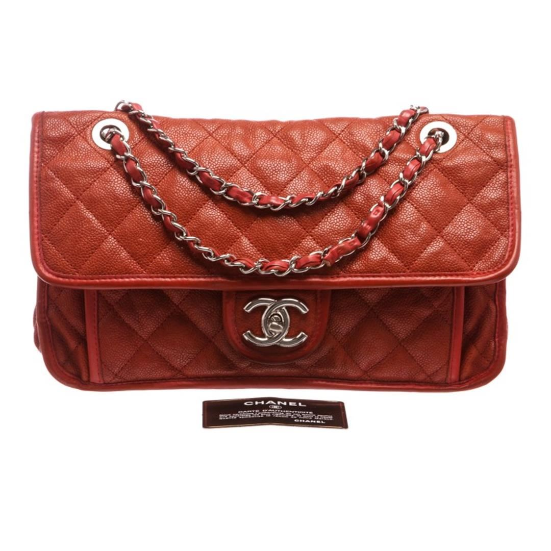 3b8757bcc152fb ... Image 2 : Chanel Brick Red Quilted Caviar Leather Medium French Riviera  Flap Bag ...