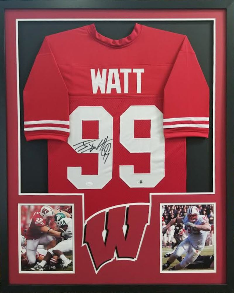 7ef9218e5e9 Image 1   J.J. Watt Signed Wisconsin Badgers 34x42 Custom Framed Jersey (JSA  COA Watt