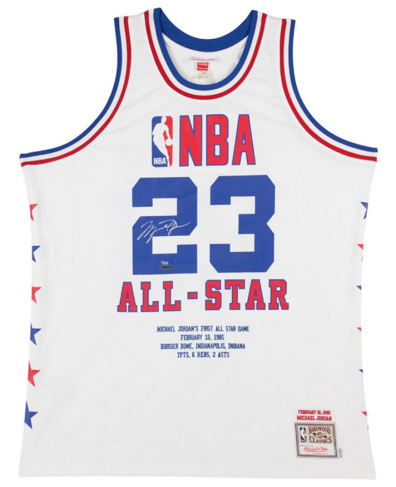 cf9539c3f04db6 Image 1   Michael Jordan Signed LE 1985 NBA All Star Authentic Mitchell Ness  Game Highlight