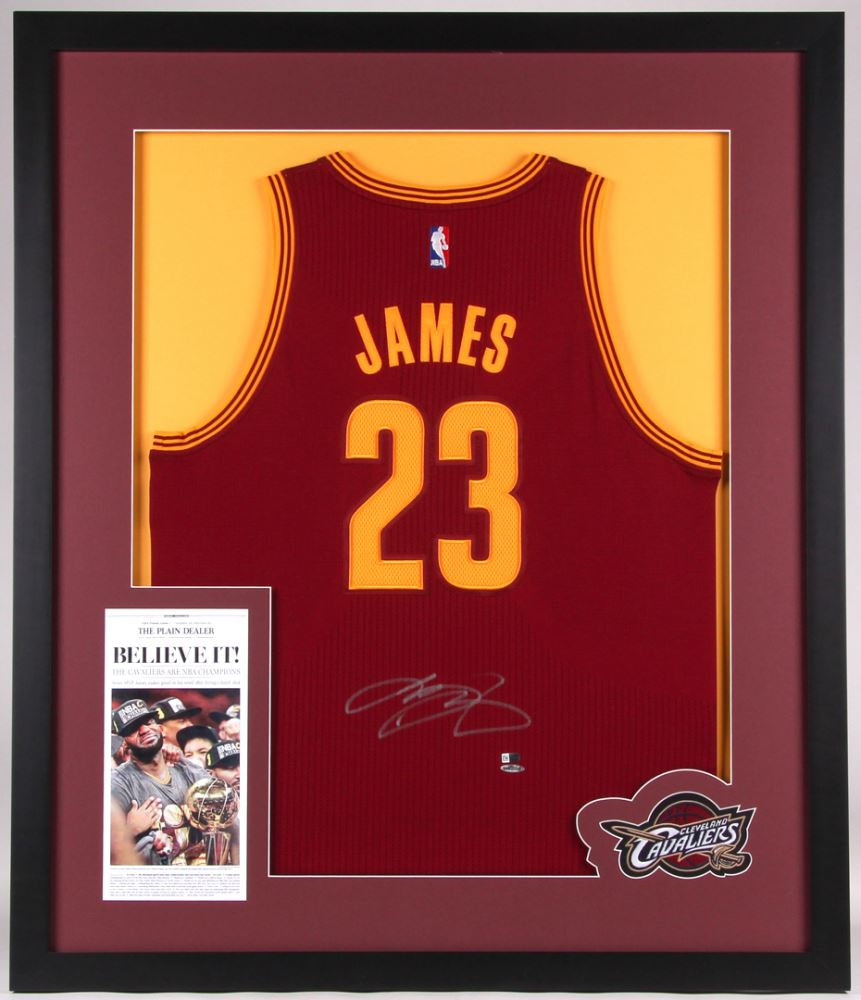 promo code 925bd bbe59 LeBron James Signed Cavaliers 35x41 Custom Framed ...