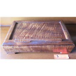 "RICARDO DELLERA Curly Koa Wood Trinket Box, Approx. 15"" L"