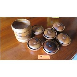 Small Misc. Wooden Bowls (6 w/Lids)