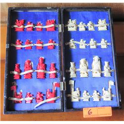 Vintage Chinese Chess Figures w/Case