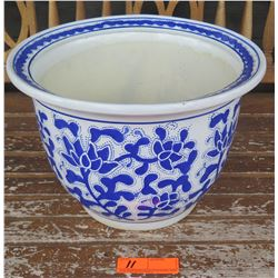 """Blue and White Ceramic Planter, 10"""" H, 14"""" Dia."""