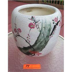 """Oriental Painted Ceramic Planter, 10"""" H, 9.5"""" Dia."""