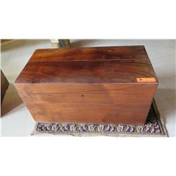 "Wooden Chest 29.5"" X 14.5"" X 15"" H (top lid is in two pieces that need to be joined together)"