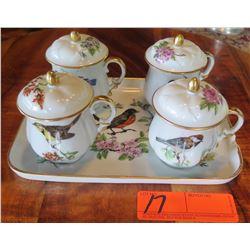 Bird-Themed Limoges (France) Ceramic Tray & 4 Lidded Teacups