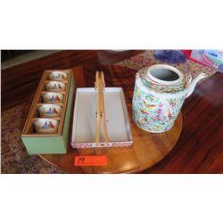 "Painted Teapot (8"" H), Porcelain Tray w/Handles, Teacups"