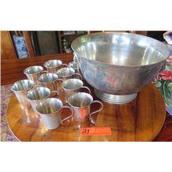 "Large EL de Uberti Italian Punchbowl (Approx. 7"" H) and 12 Cups"