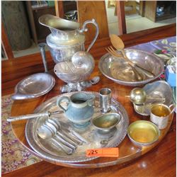 Lot of Misc. Silver Serveware (varying silver content, some Sterling, some plated), Other Metals