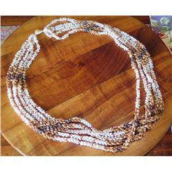 """Niihau Shell Lei, 5-Strand Pikake Style, Approx. 25"""" L - Rare Combination of Niihau Shells"""