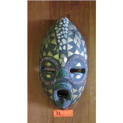 Carved/Ornamented Black Wooden Mask